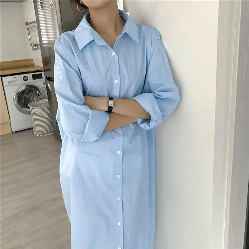 fef8873d07e8 2019 BF Minimalist Cotton Long Shirt Dress Midi Long Sleeve Shirts Women  From Longmian