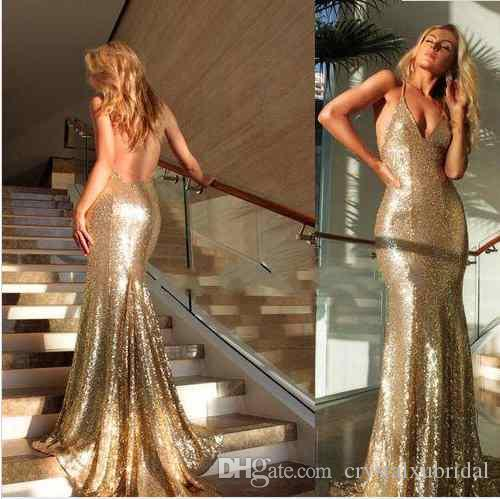 2018 Sparkly Rose Gold Vestidos de noche Lentejuelas Cuello en V Silver Gold Long Mermaid Correas Spaghetti Backless Funda Formal Barato Prom Party vestido