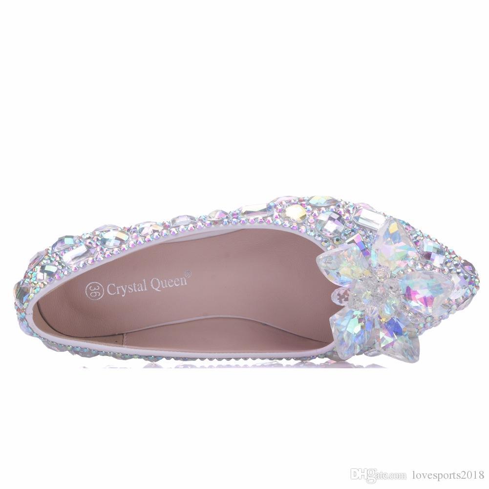 New Beautiful AB Kristall Frauen Flats Strass Spitz flache elegante Hochzeit Schuhe geeignet Plus Size Braut Wohnungen