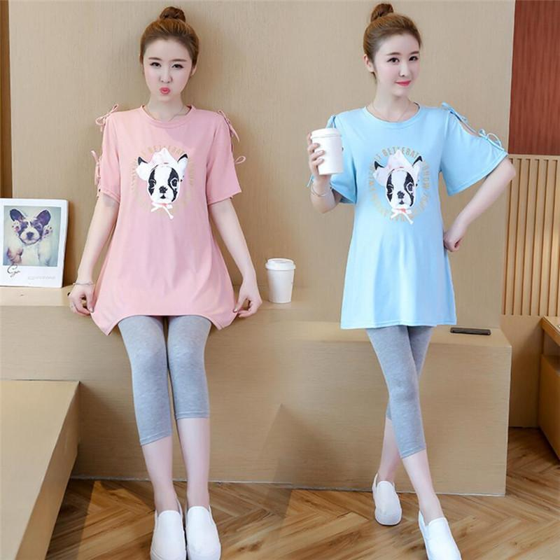 378a823ba2214e New Maternity Cloth pregnant women Korea Summer cotton dog Print top +  belly support Cropped pants Two sets of pregnant women
