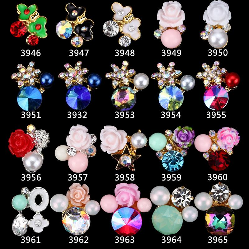 Diy Crystal Flower 7 7 1cm Make Up Cosmetic Mirror Or: 3D Gem Stone Nail Jewelry Elegant 3D Flower Nail Charms