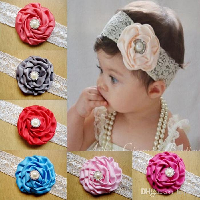 2018 Infant Flower Pearl Headbands Girl Lace Headwear Bambini Baby Photography Puntelli NewBorn Bow Accessori per capelli Fascia per capelli Baby