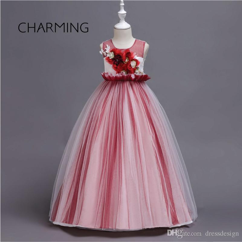 c3048f2071ab2a Wedding guest dress For girls New children's dress skirt 3D flower design  dress European and American long Princess mesh skirt