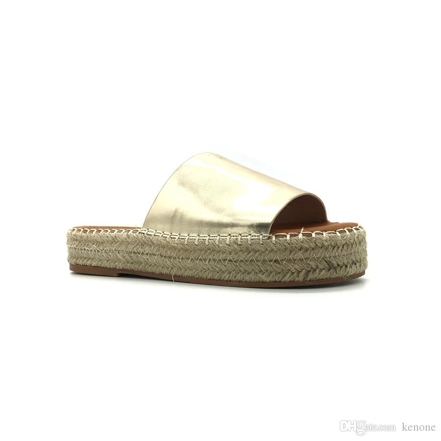 1ea9e9bf9d8 Women Platform Casual Slippers with Straw Comfy Slippers Ladies ...