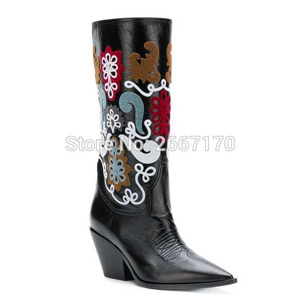 Acquista Alta Moda Celebrity Botines Mujer 2018 Western Cowboy In Pelle  Autunno Inverno Scarpe Slip On Punta A Punta Stivali Tacco Grosso Donna A  $179.88