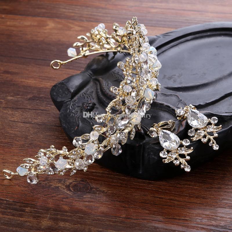 신부 크라운 꽃 신부 헤어 쥬얼리 크리스탈 티아라 프린세스 크라운 웨딩 왕관 헤어 액세서리 바로크 생일 파티 왕관 귀걸이