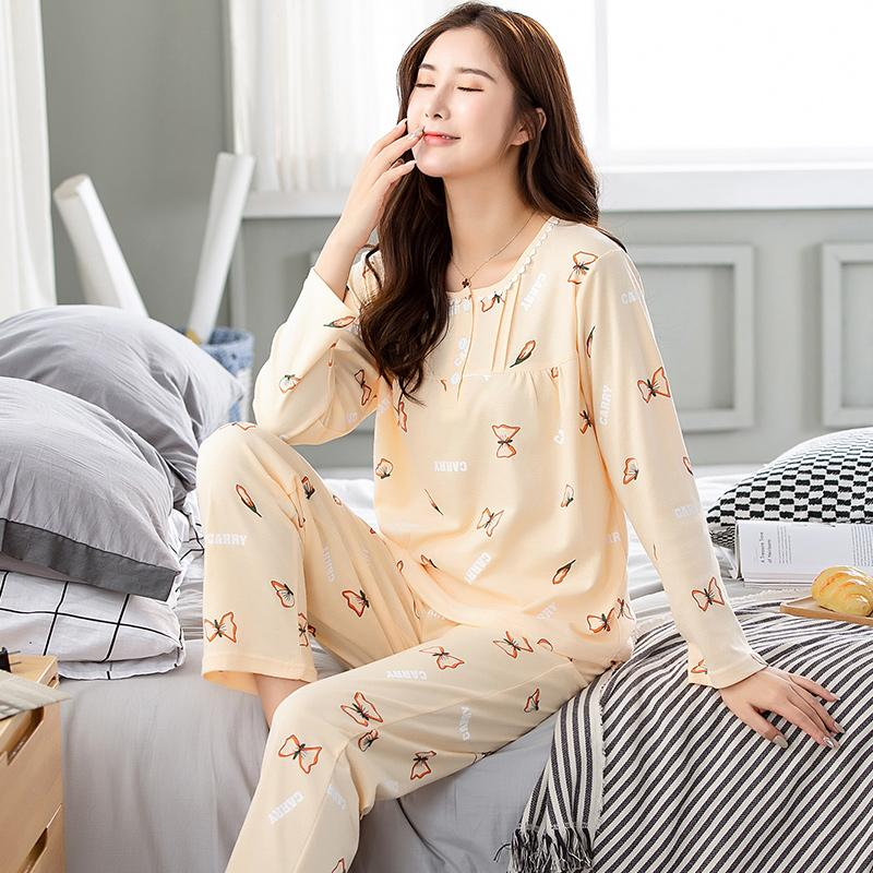 6ec986e1cc 2019 Spring Butterfly Printing O Neck Top + Long Pant Sets Pajamas Set For  Women Casual 100% Cotton Sleepwear Plus Size M 3XL From Tanggo