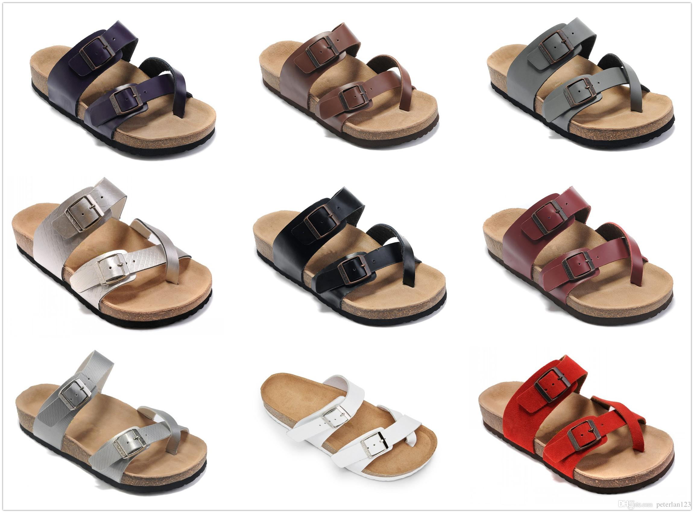 5ac2146bde6ab5 Luxury Brand Women S Birk Flat Heel Sandals Buckle Comfortable Summer  Classic Wholesale Beach Shoes Genuine Leather Slippers With Box Drop S  Italian Shoes ...