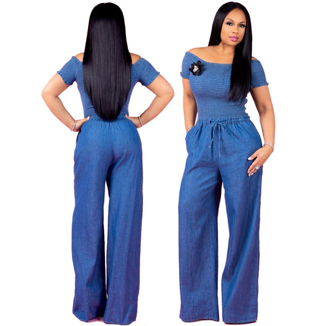 73c0357e435c Women Denim Jumpsuit Sexy Off Shoulder Wide Leg Pants Jumpsuit Solid Ladies  Smocked Drawstring Long Overalls UK 2019 From Dreamcloth