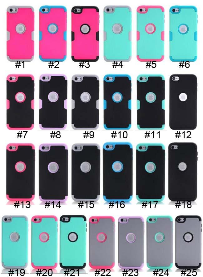 Armor Case Impact aHard PC+Silicone Gel Combo Hybrid 3 in 1 Heavy Duty Dual Color Rubber skin For Apple Ipod Touch 5 6