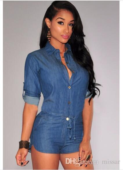 d3cfffc3102e 2019 Jeans Jumpsuit Romper 2018 Summer Fashion Women Short Bodycon Denim  Jumpsuits Summer Style V Neck Long Sleeve Sexy Club Wear Jumpsuits From  Missar