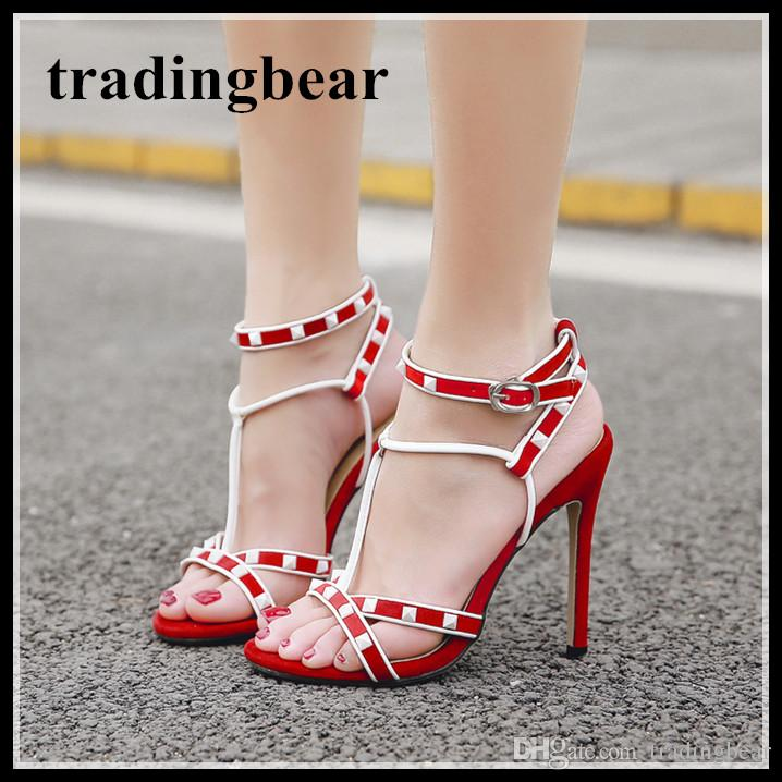 c76d1c12d5c Sexy Squared Rivets Patchwork T Strappy High Heels Shoes Summer Sandals Red  Black Size 35 To 40 Womens Sandals Orthopedic Shoes From Tradingbear