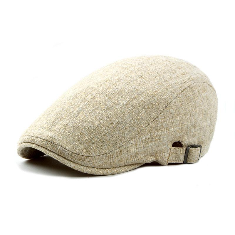 057f78e335ee1 2019 Adult Berets British Style Flat Hat Brand New Linen Beret Cap For Men  Women Spring Summer Solid Color Hats Adjustable Sun Caps From Mudiaolan