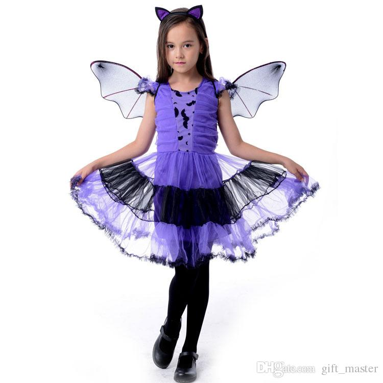 2018 girls gothic witch bat costumes kids child halloween costume for girls cosplay christmas halloween fancy dresses carnaval bat girl from gift_master
