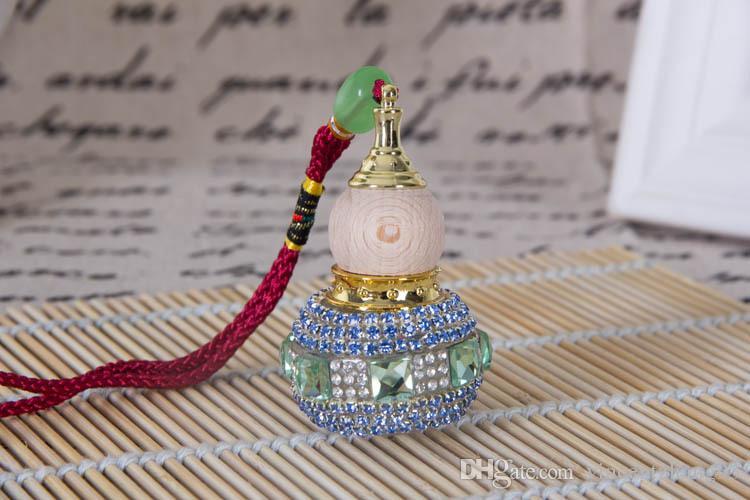 Bouteille De Parfum Huile Essentielle Vide Chinois gourde pendentif voiture pendentif voiture pendaison Ornement + Outil de compte-gouttes livraison gratuite