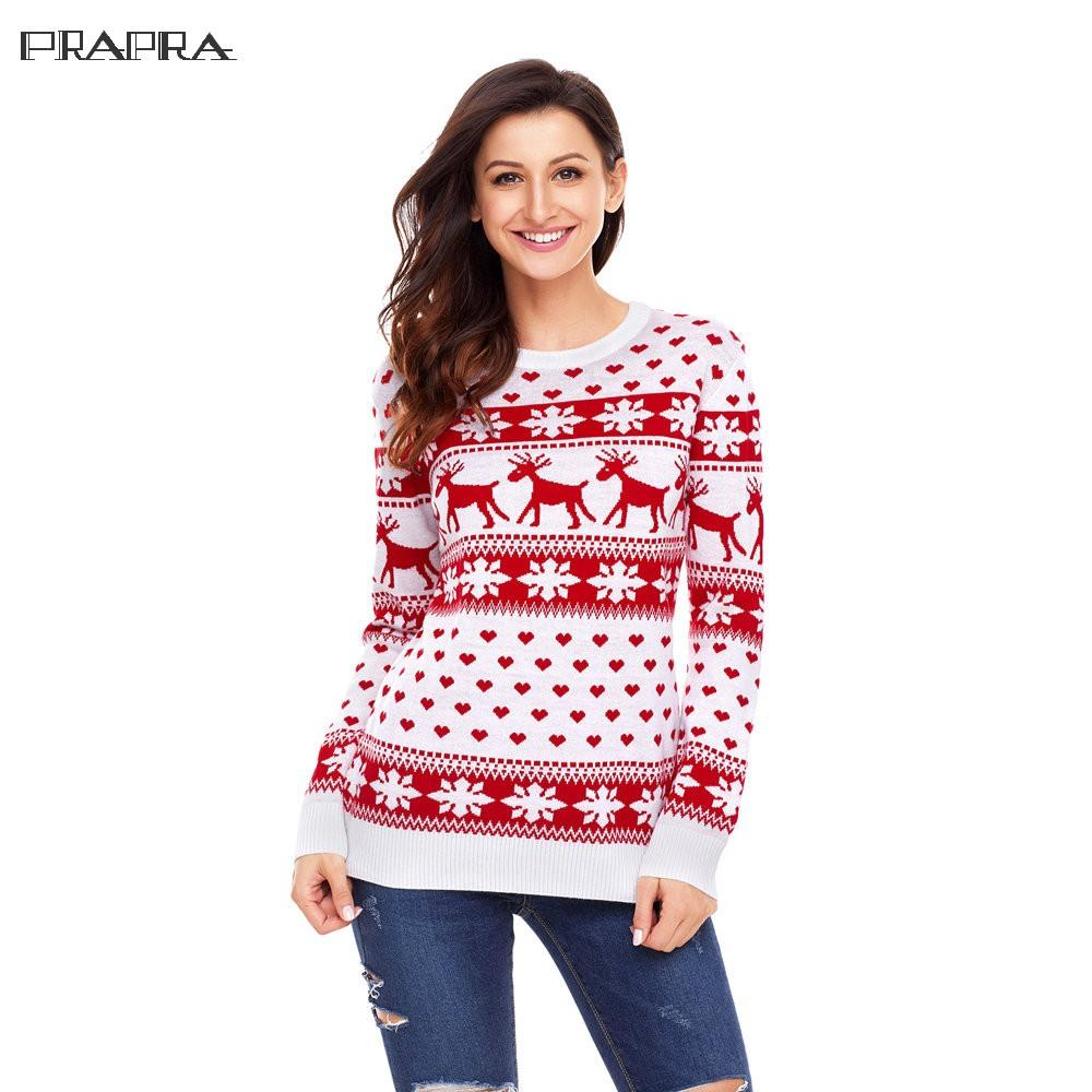 Prapra New Sweater Women Christmas Sweater Winter Snow Deer Print Warm Long Sleeve Slim Red Black Jumper S Xl