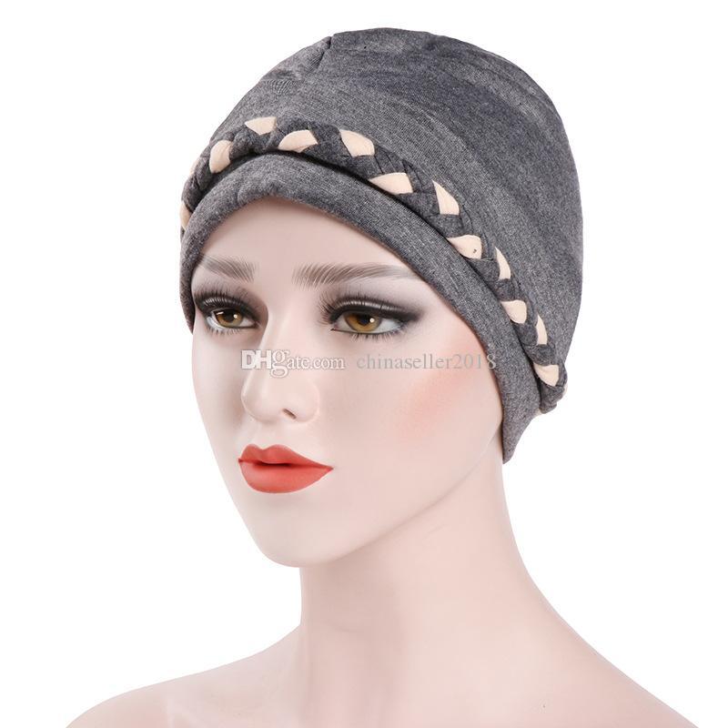 Compre Mujeres Musulmanas De Algodón Whip Turbante Bufanda Del Sombrero Del  Cráneo Chemo Gorros Hijab Headwear Head Wrap Plateado Para El Cáncer De  Pelo ... 6ce597c0df4