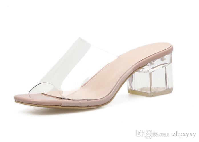 브랜드 2018 새로운 플라스틱 여성 샌들 두꺼운 뒤꿈치 크리스탈 샌들 플립 퍼 여성 여름 파티 신발 오픈 토 1NX17 여성용