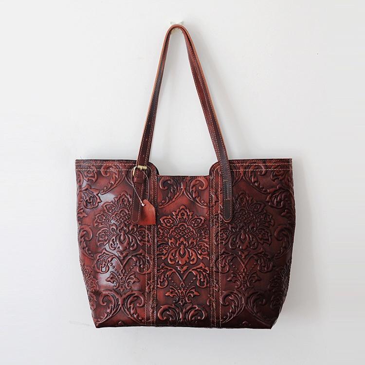 4fb0b756e8f6 Handmade Women S Retro Genuine Leather Carving Tote Elegant Handbag Vintage  Shoulder Bag Shopping Bag Classic Travel Tote Large Capacity Wholesale Bags  ...