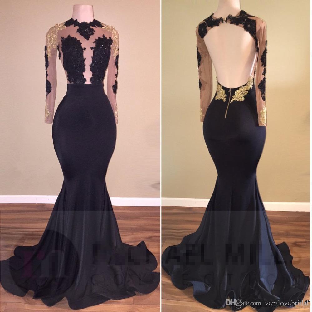 Schwarz Arabisch Prom Kleider 2018 Long Sleeves Gold Appliques High Neck Durchschauen Open Back Eevning Kleider Mermaid Formale Kleider