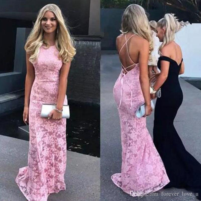d6b1a322834 Sexy Criss Cross Backless Blush Pink Lace Prom Dress Long Formal Fitted  Mermaid Evening Party Gowns Halter Sleeveless Cheap High Quality One  Shoulder Prom ...