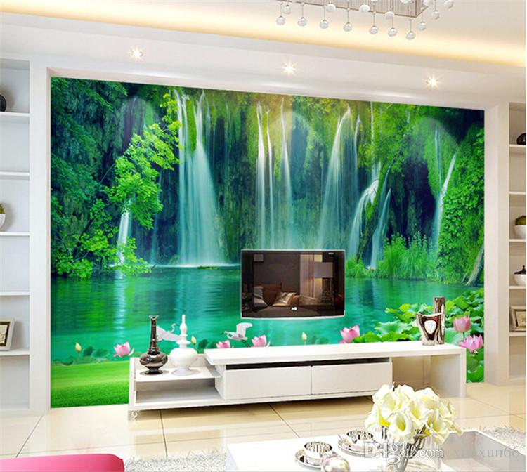 Seamless large-scale mural 3d stereo landscape TV living room background decorative wallpaper wallpaper waterfall lotus flower