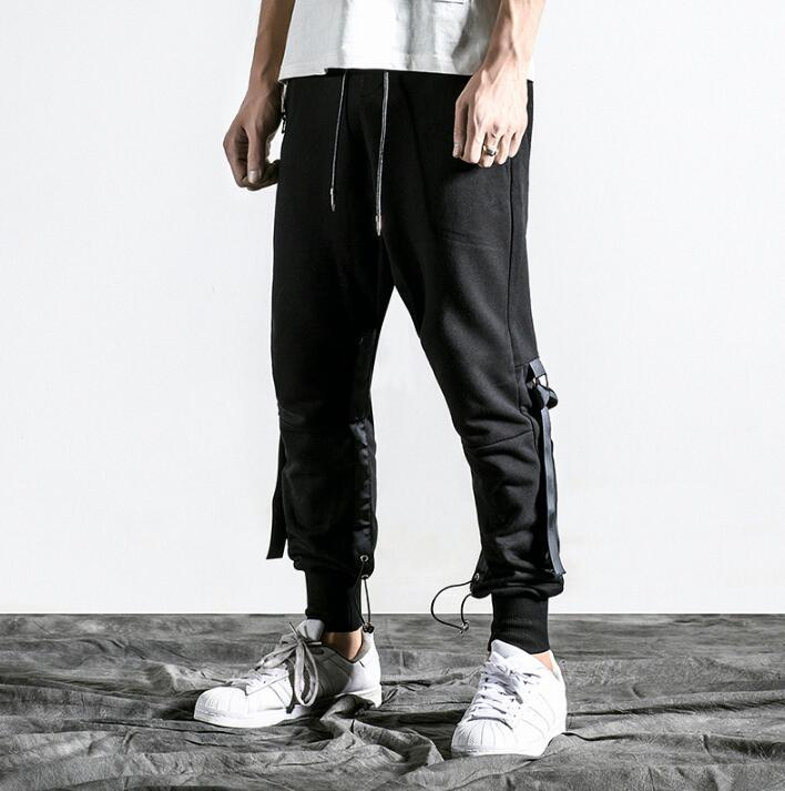 Black Personality Fashion Mens Pants Slim Fit Wild Harem Pant Men Adorable Mens Patterned Pants
