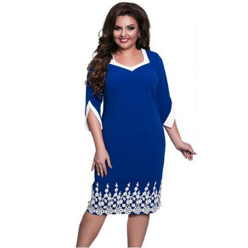 e69727fb Compre 2019 Tallas Grandes 6XL 5XL Vestido De Encaje Patchwork Mujer  Oficina Vestido De Gran Tamaño Casual Vestidos Sueltos Azules Estilo De  Otoño A $33.42 ...