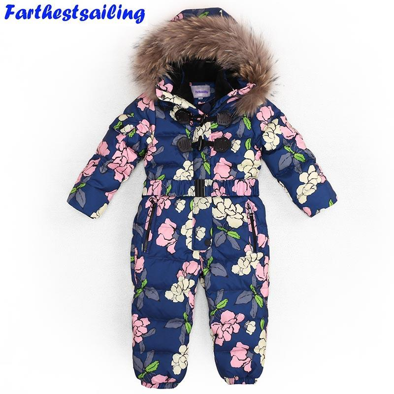 982f1da1c Children Winter Jumpsuit Duck Down Boys Girls Baby Romper Nature Fur ...