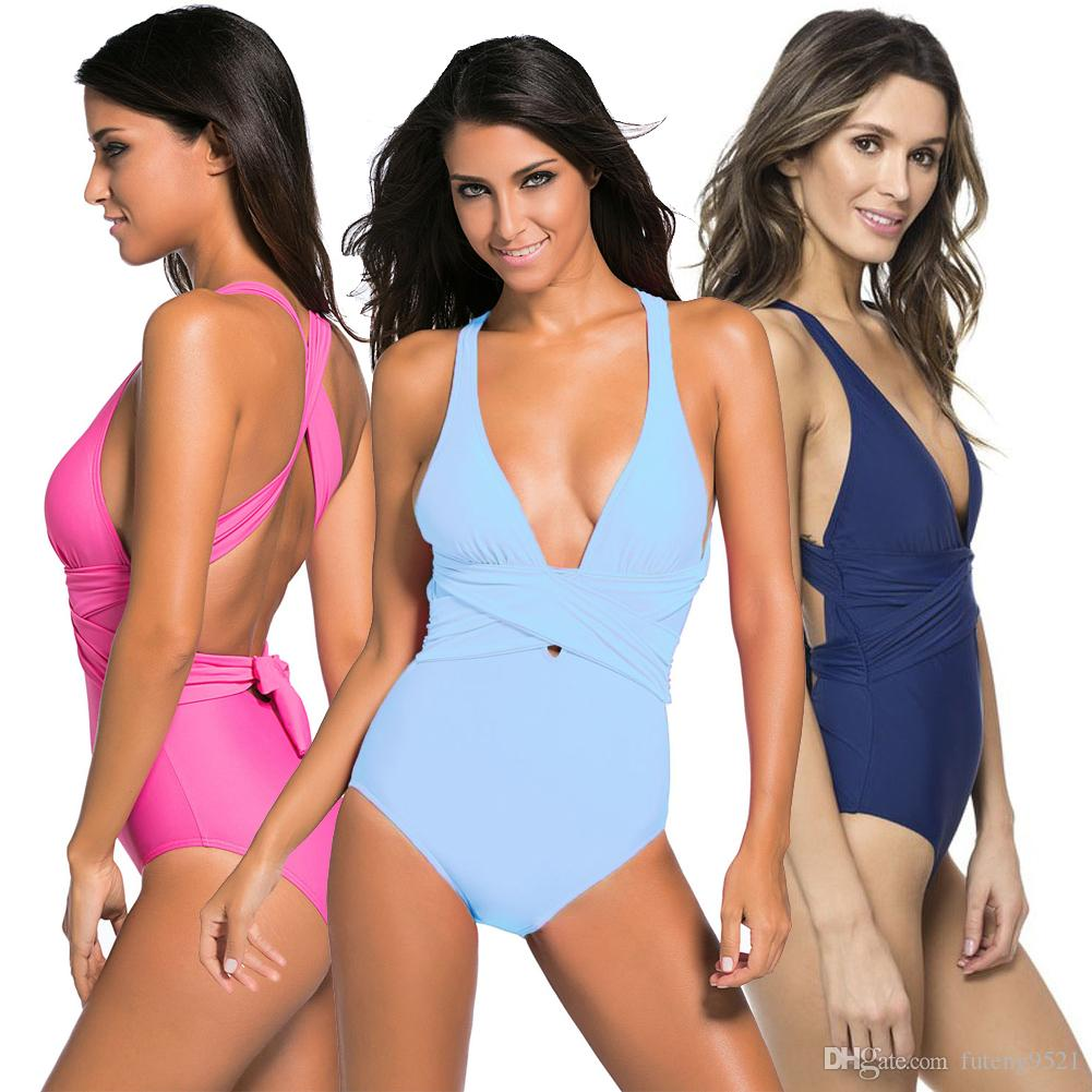 2019 Womens Large Size Self Tie One Piece Swimsuit Deep V Collar