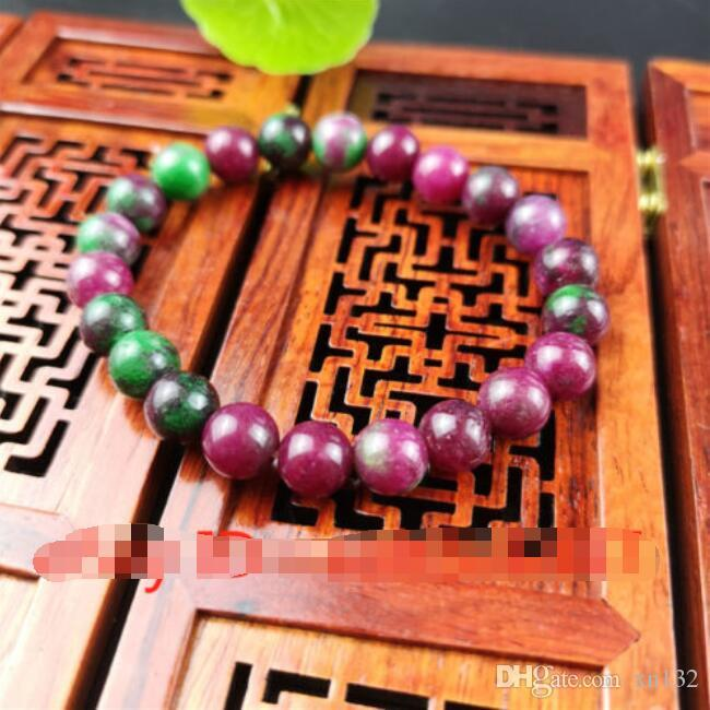 Colour Jade Bead Bracelet Chinese Natural Elastic Bangle Charm Jewelry