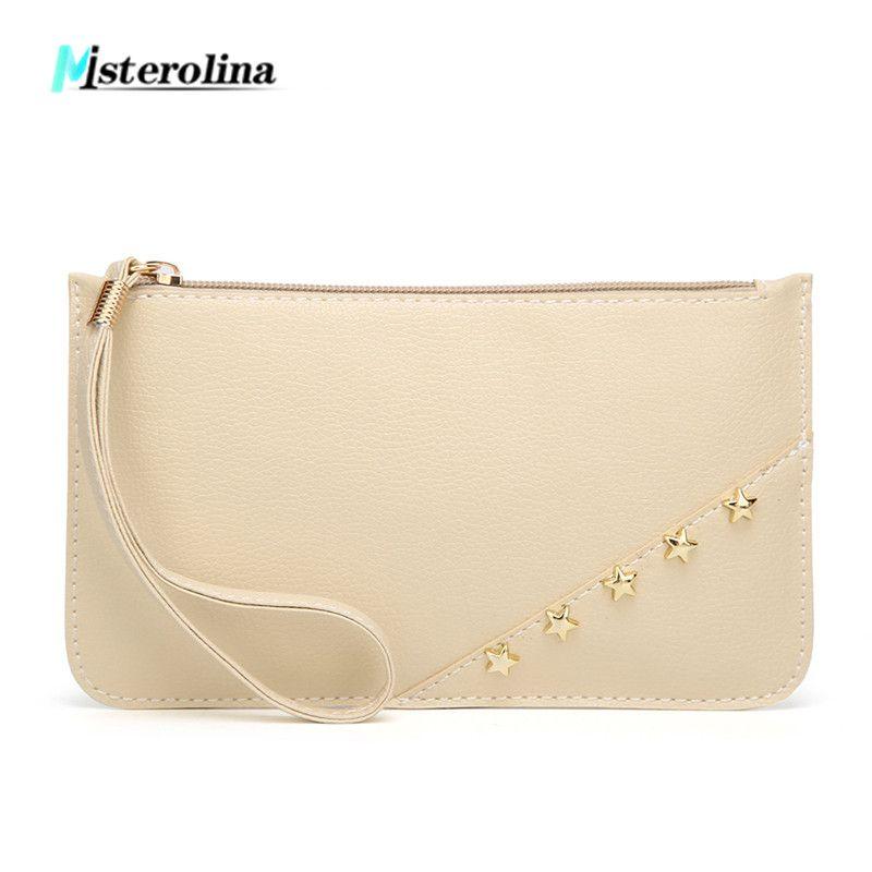 Misterolina mujer Pu cuero día embragues pequeño sobre bolsa mujer remache bolsas noche de compras con cremallera teléfono día bolso