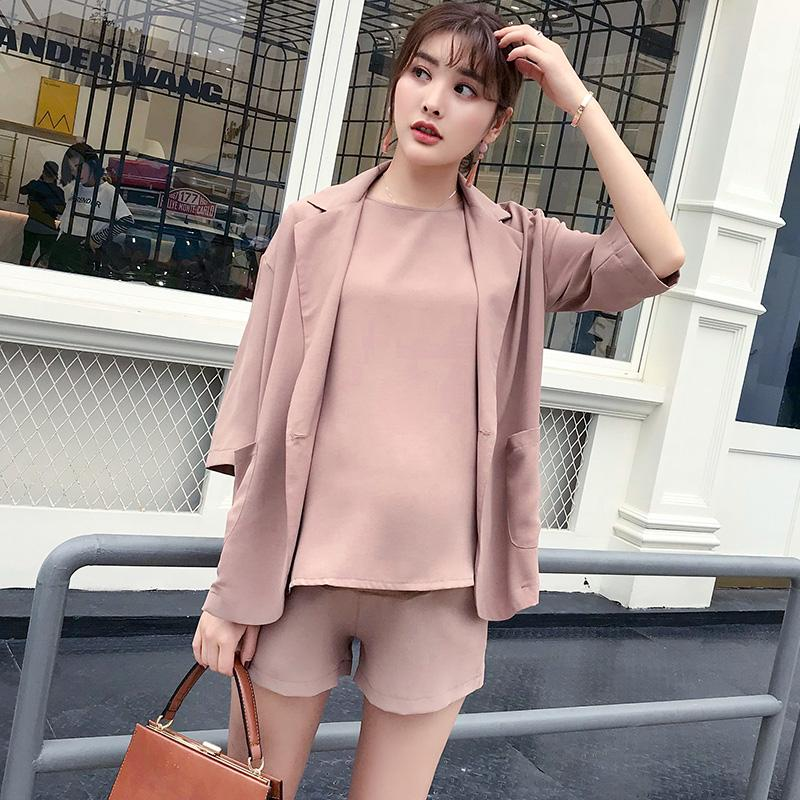 083251d78a6a2 Women Pregnant Business Attire Clothing Set 3pcs Maternity Tops+ Shorts+  Coat ElePregnancy Lady Clothes Suit Summer New
