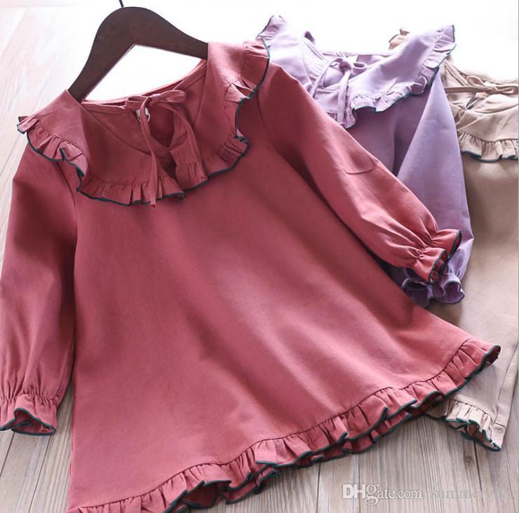 a7f2f0e1f Autumn New Girls Lace-up Bows Falbala Collar Dress Kids Ruffle Long ...