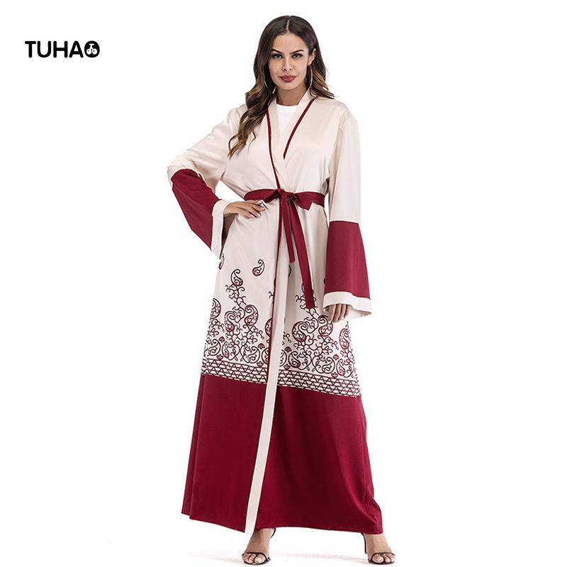 TUHAO Muslim Print Trench Loose Open Stitch Long Cardigan Windbreaker Robes Female Casual Maxi Trench Coat With Sashes TA1640