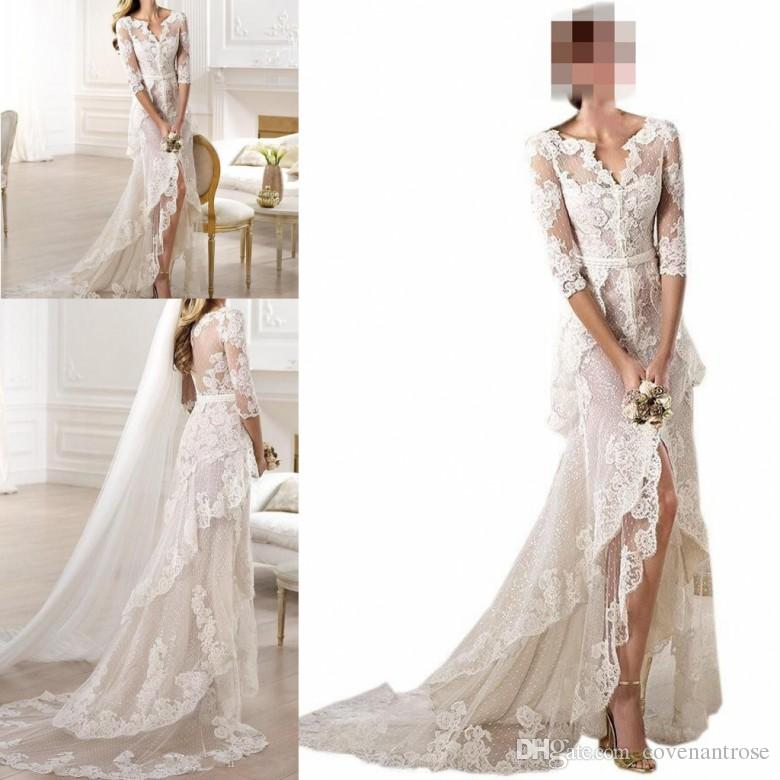 14c086b556106 Unique Designer V neck High Low Wedding Dresses Half Sleeves Lace Applique  Custom Made Tiered Skirt Sheer Cheap Bridal Gowns