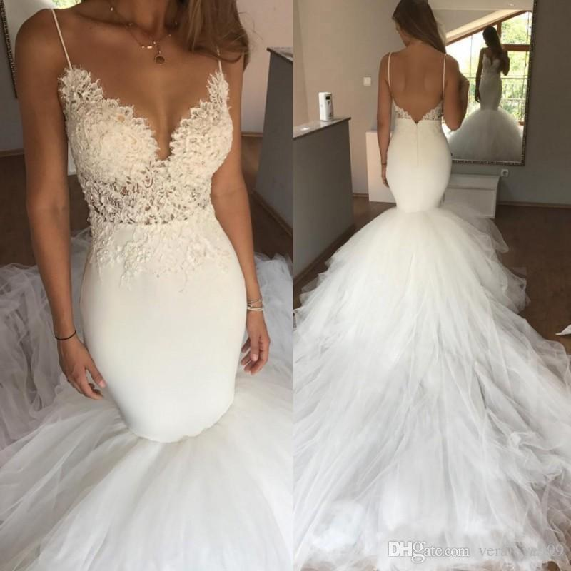 1d08cf6c928 Ivory Sexy Spaghetti Straps Boho Mermaid Beach Wedding Dress Backless Bridal  Lace Tulle Long Train Cheap Wedding Gowns For Bride Dresses Silver Wedding  ...
