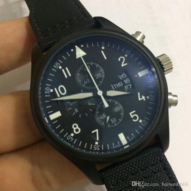 Dial Cuarzo Japón 44 Relojes Hombre Pistola Mm Pilot Nuevo Lusso Aaa Di Negro De Lujo Para Superior Reloj Orologio Calidad Serie Movimiento wiPuOXZTk