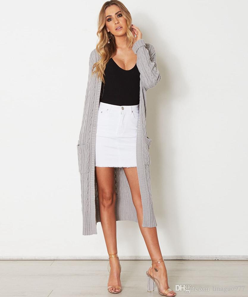 new product 2e1f1 bb33d Maglione Cardigan donna 2018 con tasca frontale aperto maglione a trecce  maglia cappotti cardigan longline manica lunga in autunno inverno
