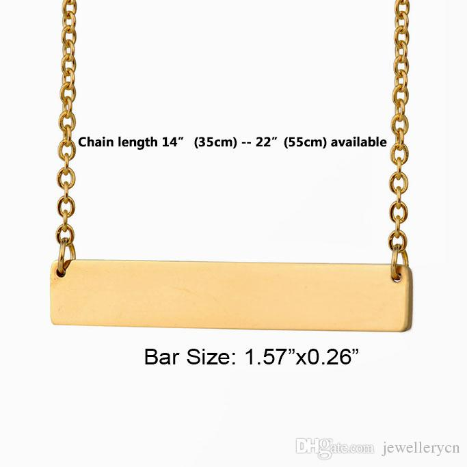 Custom Personalized Name Bar Necklace Gold for Women Stainless Steel Engraved Heart Coordinates Name Words Initial Simple Jewelry 2652