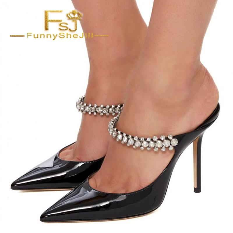 caa5d39fd8baf9 Acheter Cuir Verni Noir Cristal Embellies Talon Aiguille Mules Été Femmes  Chaussures Généreux Noble Incomparable Vendredi Noir FSJ De $135.91 Du  Taylorst ...