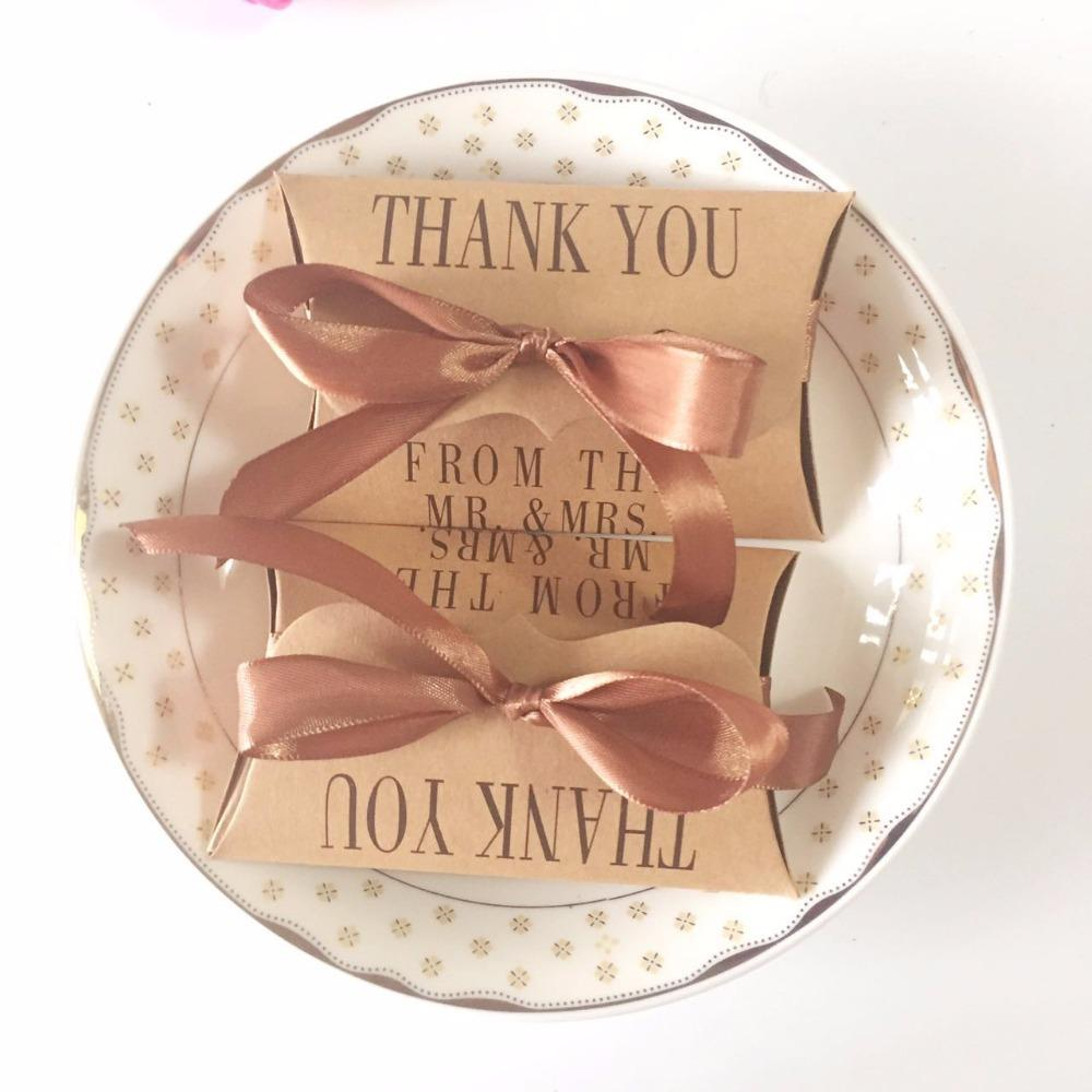 diy mrmrs thank you candy box kraft pillow shape wedding favor gift bag with ribbons vintage wedding party christmas gift gift box wrapping gift boxes from