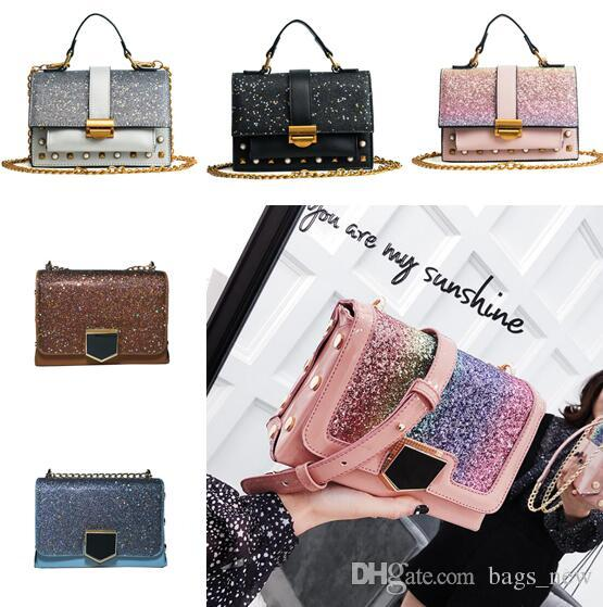 Lady Sling Chain Handbags High Quality PU Leather Rivet Beach Bags Fashion  Sequin Women Shoulder Bags Shoulder Strap Ladies Crossbody Bags Designer  Handbags ... 34ee6289fe