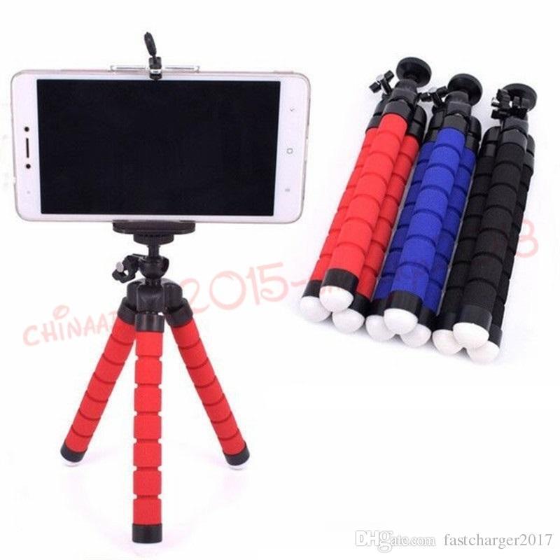 Tenedor de trípode flexible para celular para teléfono celular Cámara de automóvil Universal Mini Octopus Soporte de esponja Soporte Selfie Monopod Montaje con clip por DHL