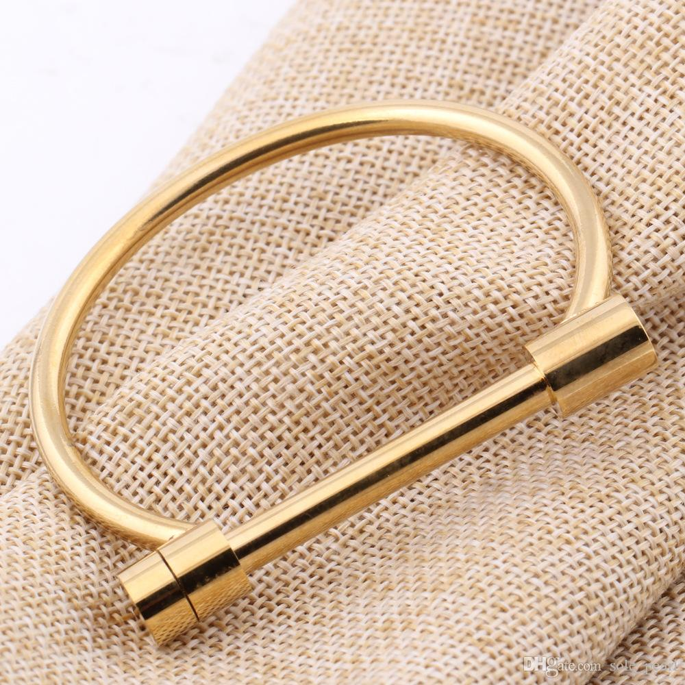 Yeni bilezikler Açık tip bilezikler 2018 yeni moda Paslanmaz Çelik Bilezikler kadın erkek Takı için altın gümüş toptan D şekli Bilezik
