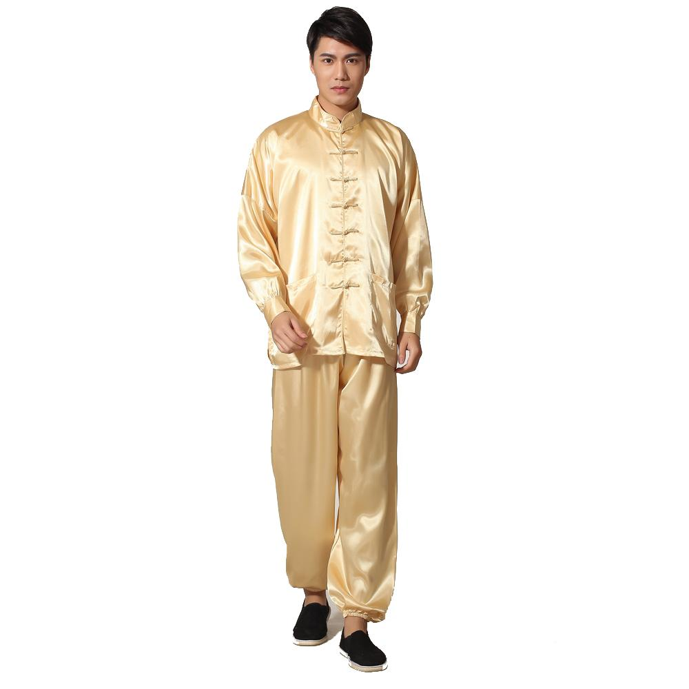 c300538b24 2019 Novelty Gold Men s Satin Pajamas Set Chinese Style Button Pyjamas Suit  Soft Sleepwear Shirt Trousers Nightgown S M L XL XXL From Maoyili