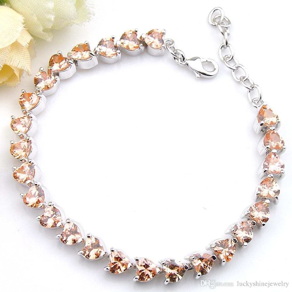 Luckyshine Sparking Fire Heart-shaped Morganite Cubic Zirconia Gemstone Silver Chain Bracelets Bangles Holiday Wedding Party