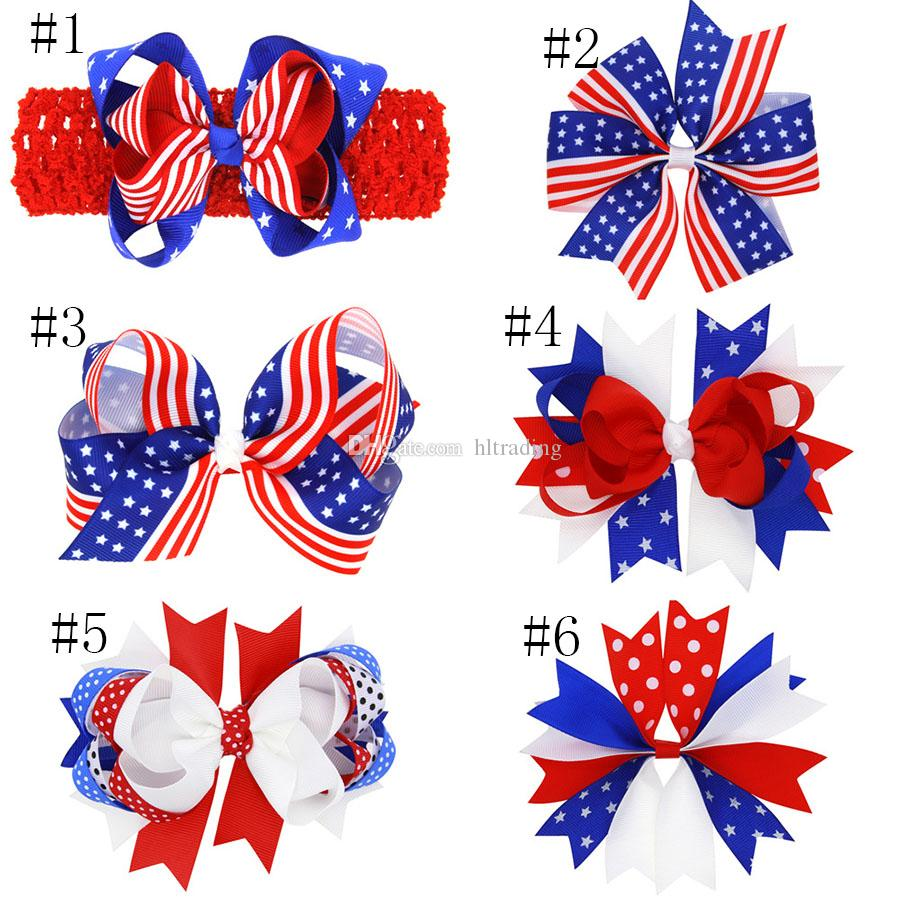 Bandiera americana stampata Barrettes Bow Clip di capelli forcine forcine Fiocco di capelli con clip bambini Accessori capelli 4 luglio bambino fasce C4074