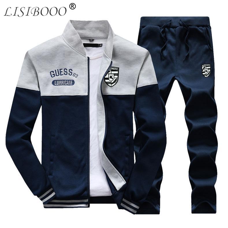 Acquista LISIBOOO Moda Tuta Uomo Set 2018 Primavera Inverno Casual Felpe 2  Pz Giacche Pantaloni Set Sportwear Suit Uomo Abbigliamento 4XL A  32.51 Dal  ... cde0dd627e8