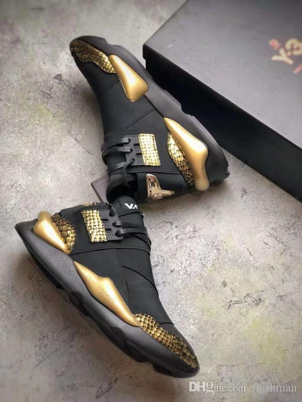 063391d1d51 Y-3 Kaiwa Chunky Sneakers Men Women Black Gold Dad Running Shoes Sending  With Box